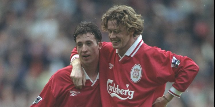 25 Oct 1997: Robbie Fowler and Steve McManaman (right) of Liverpool celebrate a goal during the FA Carling Premiership match against Derby County at Pride Park in Derby, England. Liverpool won the match 0-4. Photo by Gary M Prior/Getty Images